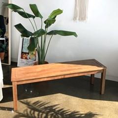 [카르페디]KA 고무나무 원목 나무 벤치 의자(3인용)