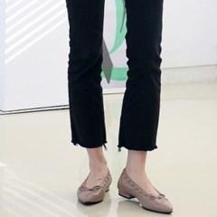 여성 가죽 스틸레토 리본 바느질 플랫슈즈 MISS3447 1.5cm