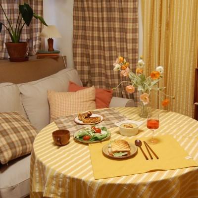 BUTTER-yellow stripe 메이드파니 옐로우 스트라이프 테이블보