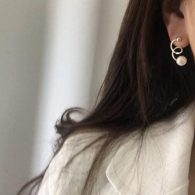 심플 진주 데일리 귀걸이 하객룩 소개팅룩 매듭 꼬임