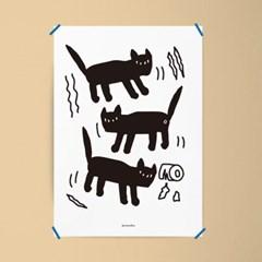 사고치는 고양이 M 유니크 인테리어 디자인 포스터