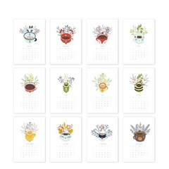[2021 CALENDAR] Cozy and Cute Hand Drawn Cups