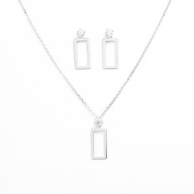 [쥬디앤폴] [Gift set] 글리 스퀘어 크리스탈 화이트골드 세트