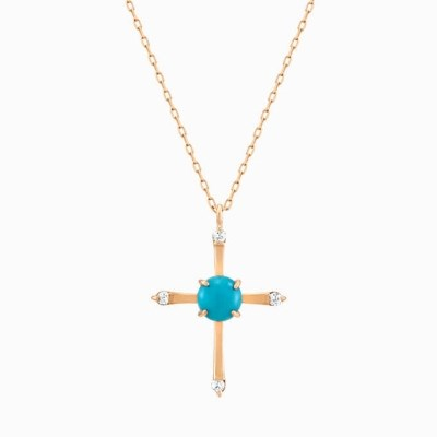 18K 십자가 터키석 다이아몬드 목걸이 + 하이브리드 플라워 패키지