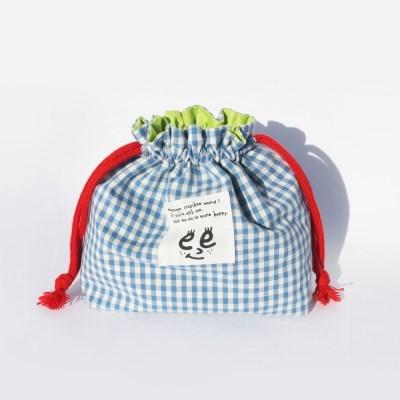 Check string pouch_Sky blue