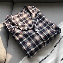 맨해튼 체크 피치기모면 커플잠옷 홈웨어