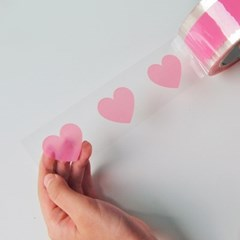 투명 핑크 하트 포장테이프(80m)