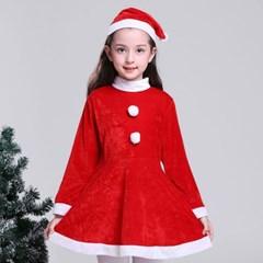 어린이 10-13세 크리스마스 산타복 원피스 세트