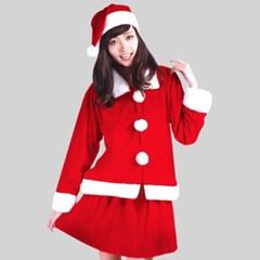 성인 여성용 크리스마스 산타복 투피스 세트