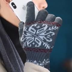 겨울 니트장갑 스마트폰 터치 큰눈꽃 패턴