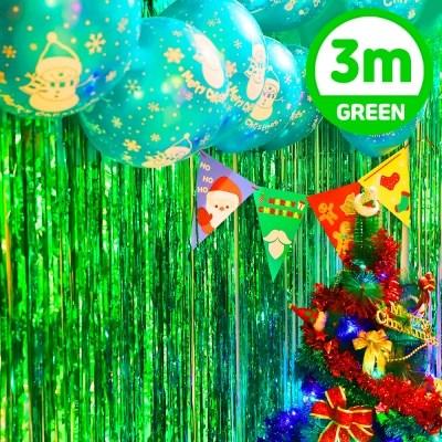 크리스마스 은박 파티 커튼 (1mX3m) 그린_(301834970)