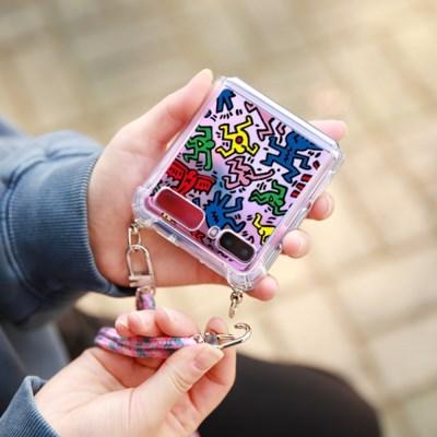 키스해링 갤럭시Z플립 갤럭시Z플립2 5G 젤하드 핸드폰 목걸이 케이스
