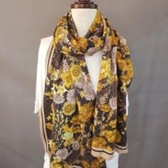 기모 롱 꽃무늬 플라워 겨자 레드 중년 패션 스카프