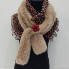 밍크 고리 플라워 두꺼운 엄마 할머니 패션 스카프