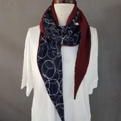 서클 양면 면 와인 회색 데일리 중년 패션 스카프