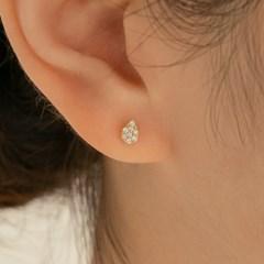 14k gold CZ mini waterdrop piercing (14k 골드)(바두께1mm)