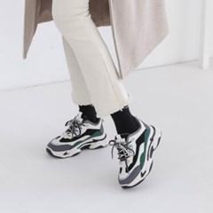 여성 가죽 포인트 배색 키높이 운동화 스니커즈 DONA 5282