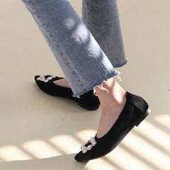 여성 스웨이드 스퀘어 비즈장식 플랫슈즈 MISS 3460 1cm
