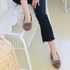 여성 스웨이드 토끼털 기모 플랫슈즈 MISS3417 1cm