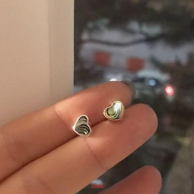 [925실버] 다크자개하트 귀걸이