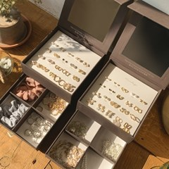 올인스퀘어 한달 귀걸이 2단 미러박스 보관함 세트