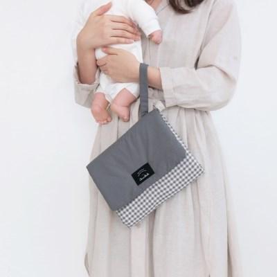 코니테일 기저귀 패드 - 그레이체크 (휴대용 기저귀매트 출산선물)