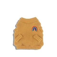 [monchouchou] Rainbow Knit Cardigan_Amber Yellow