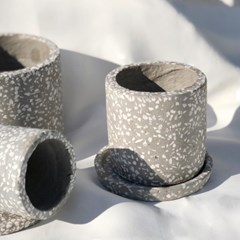 그레이테라조 대리석화분 회색화분 인테리어화분 필통 원형화분