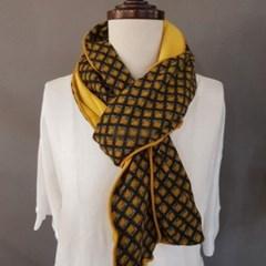 큐브 웨이브 양면 옐로우 그린 미시 중년 패션 스카프
