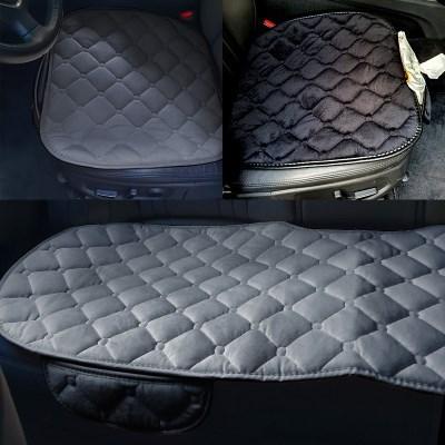 스토리셀 차량용 벨로아 주머니 방석 3p(블랙,그레이 택 1)