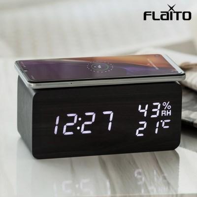 플라이토 우드 무선충전 온습도 LED 탁상시계 아답터증정