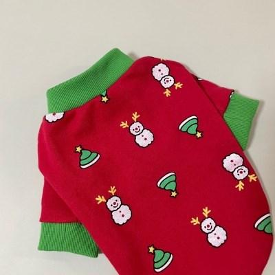 러블리댕댕 강아지 크리스마스 실내복 티셔츠