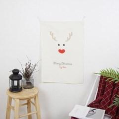 디어 크리스마스 면 패브릭 포스터