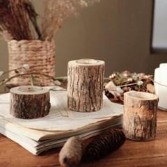 내추럴 우드 통나무 캔들홀더 자작나무 촛대 크리스마스 홈장식