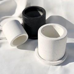 화이트테라조 대리석 블랙 백색화분 인테리어화분 필통 원형화분