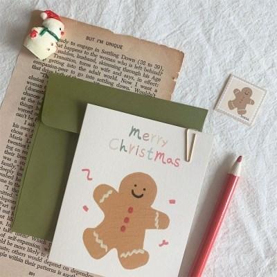 진저쿠키 크리스마스 카드세트(봉투,스티커)