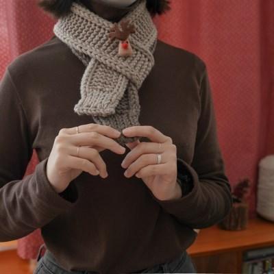 아이코드 배색 목도리 - 대바늘 키트 겨울 목도리 만들기