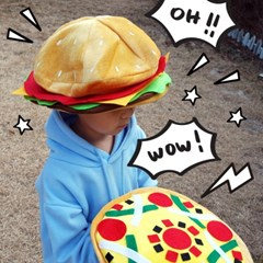 피자 햄버거 파티 모자