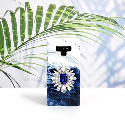 딥블루 큐빅 그립 스마트톡 대리석 핸드폰케이스 갤럭시/아이폰