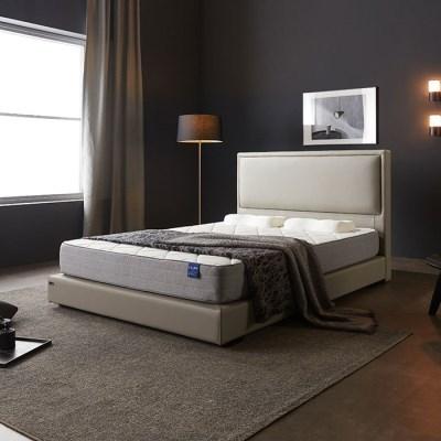 호텔식 시에나 가죽 침대 프레임 +컴팩트 솔루션 매트리스 Q