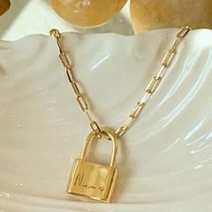 자물쇠 레터링 목걸이(실버,14k gold plated)