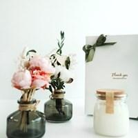 목화 피오니 꽃다발 디퓨저&캔들 선물 세트[8oz+110ml]