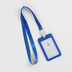 양면 사원증케이스(블루)/ 세로형 명찰케이스
