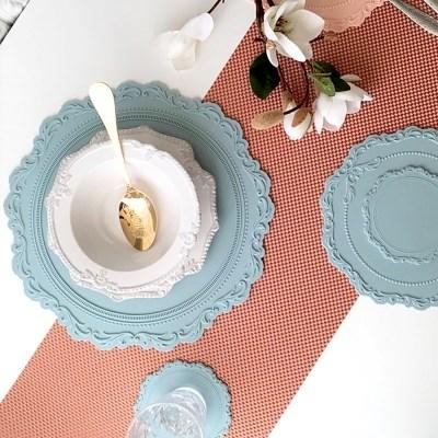 실리콘 원형 식탁매트 프렌치 멜란지블루