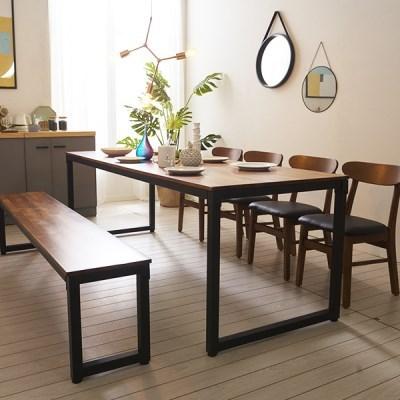 KUF 도나 8인 멀바우원목 식탁세트(의자/벤치)_(2103634)