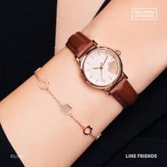 [팔찌 증정] 심플 데일리 라운드 가죽 시계 (브라운) [LS0F00036AY]