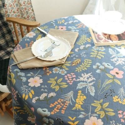 면린넨 빅 플라워 식탁보 테이블보 덮개-네이비