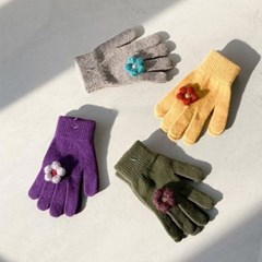 겨울 스마일 꽃무늬 플라워 니트 여자 손가락 장갑