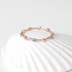 [몽슈와] 14K 터키석 매듭 포인트 반지