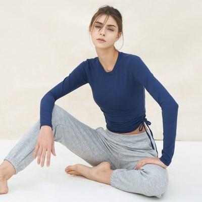 여성 요가복 DEVI-T0050-네이비 필라테스 기모티셔츠 긴팔티 셔링티